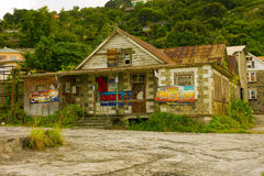 A patch-work home/rumshop in the caribbean Royalty Free Stock Images