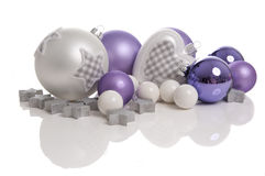 Patched Christmas balls. On white background stock images
