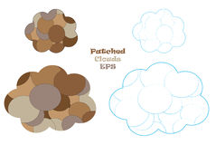 Patched clouds vector illustration set Royalty Free Stock Photo
