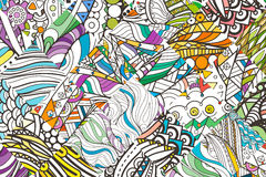 Patched doodle background pattern. Design ornate, tribal pattern. Simple colored background for coloring. Stock Image