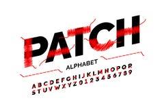 Patched font design stock illustration