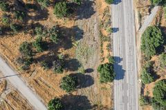 Patched Roadway from Above Wilderness Stock Image