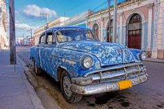 Old American auto in Cienfuegos, Cuba Royalty Free Stock Images