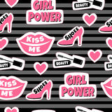 Patches background with inscription: shoes, beauty, kiss me and girl power. Seamless pattern with lips, hearts and mascara Royalty Free Stock Image