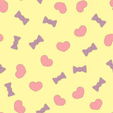Patches cute hearts and bows. Color seamless pattern. vector illustration