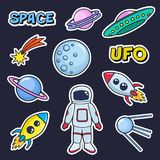 Patches cute set with space cosmonaut planets rockets spaceships moon ufo comet satellite and stars on black background. Fashion stickers, cartoon 80s-90s Stock Images