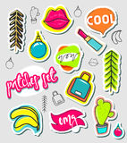 Patches hand draw, stickers collection. Fashion patch cartoon comic style Royalty Free Stock Photography
