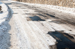Patches of snow on the road in the spring Stock Photography