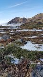 Patches of snow on rocky plain Royalty Free Stock Photography