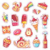 Patches of sweet strawberry dessert, cherry ice cream, positive happy animals faces and funny cartoon food vector fun stock illustration