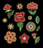Patches for textile design or print with flowers, embroidered sequins, beads and pearls. Vector fashion illustrations. Patches for textile design or print with Stock Photography
