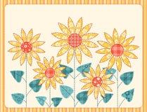 patchworków karciani słoneczniki Obraz Royalty Free