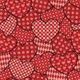 Patchworków serc bezszwowy piękny wzór. Fotografia Royalty Free