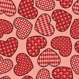 Patchworków serc bezszwowy wzór. Obraz Stock