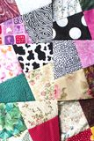 Patchwork. Quilt in progress, blocks aligned for design Stock Photography