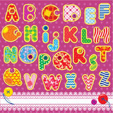 Patchwork ABC alphabet. Letters are made of different ornamental fabrics vector illustration