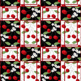 Patchwork abstract seamless floral cherry pattern background Royalty Free Stock Images
