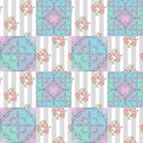 Patchwork abstract seamless floral pattern background Royalty Free Stock Images