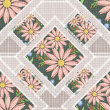 Patchwork abstract seamless floral, pattern texture light background with decorative elements. Delicate flowers stock illustration