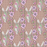 Patchwork abstract seamless floral, pattern texture light background with decorative elements. Stock Images
