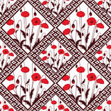 Patchwork abstract seamless floral, pattern texture light background with decorative elements. Delicate flowers.red poppies Vector Illustration