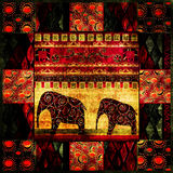 Patchwork african pattern grunge print vintage background Stock Photography