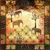Patchwork african pattern grunge vintage, retro background Royalty Free Stock Images