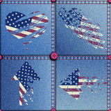 Patchwork with American flag. Seamless background pattern. Patchwork with grunge elements of American flag Stock Images