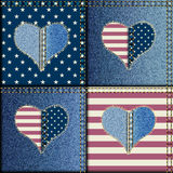 Patchwork with American flag. Seamless background pattern. Patchwork with heats and American flag symbols Stock Photos