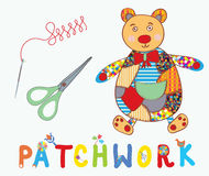 Patchwork background with bear, needle Stock Photo