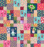 Patchwork background with cute cartoon characters for children. Stock Image