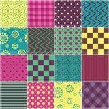 Patchwork background with different colors patterns Royalty Free Stock Images