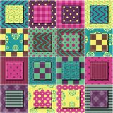Patchwork background with different colors patterns Royalty Free Stock Photos