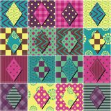 Patchwork background with different colors patterns Stock Photos