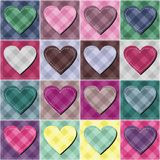 Patchwork background with different patterns. With hearts royalty free illustration