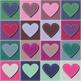 Patchwork background. With different patterns and hearts stock illustration