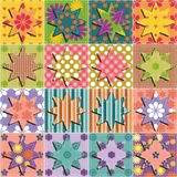 Patchwork background with different patterns illustration Royalty Free Stock Image