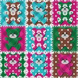 Patchwork background with different patterns illustration Royalty Free Stock Images