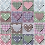 Patchwork background with different patterns. Patchwork textile background with textile different hearts vector illustration