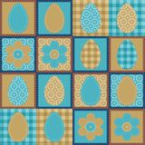 Patchwork background with eggs and flowers Royalty Free Stock Image