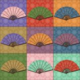 Patchwork background with fans Stock Photos