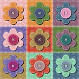 Patchwork background with flowers and buttons Royalty Free Stock Images
