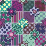 Patchwork background with flowers and buttons Royalty Free Stock Photo