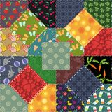 Patchwork background with flowers and buttons Stock Photo