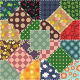 Patchwork background with flowers and buttons Stock Image