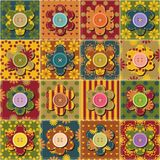 Patchwork background with flowers Stock Photos