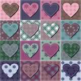 Patchwork background with hearts. Different colors illustration royalty free illustration