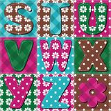 Patchwork background with letters illustration Stock Image