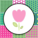 Patchwork background with lovely flower Stock Photography