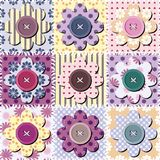 Patchwork background with scrapbook flowers Stock Image